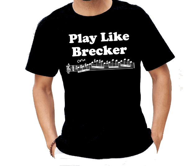 Play Like Brecker Music note Saxophone T-Shirt for jazz