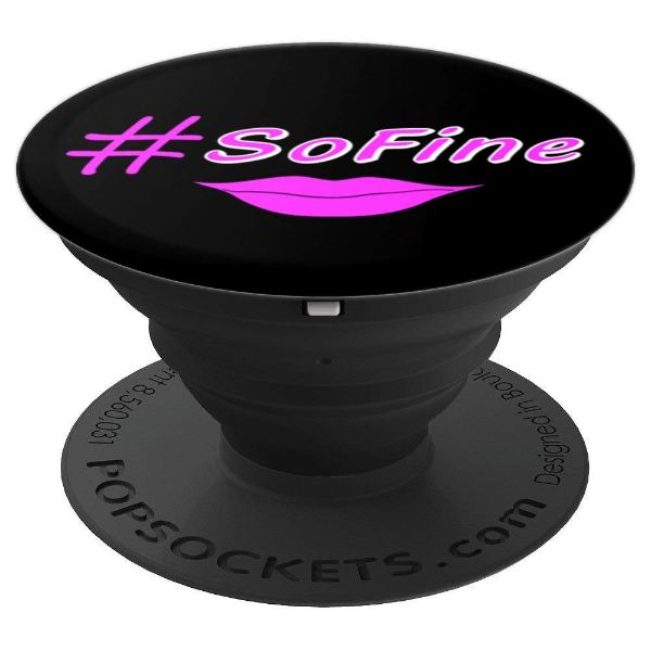 Hashtag So Fine Hot Pink Lips - PopSockets Grip and Stand for Phones and Tablets